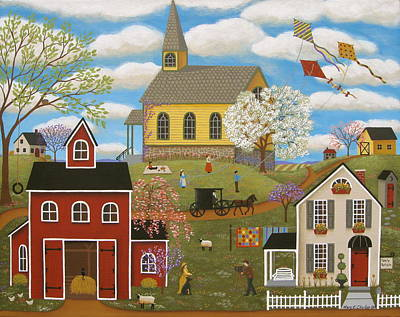 Art Quilt Painting - A Picture Perfect Day by Mary Charles