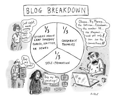 1 Drawing - A Pie Chart Titled Blog Breakdown Is Divided by Roz Chast