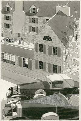 Building Exterior Digital Art - A Pierce Arrow Coupe And A Duesenberg Sports by Jean Pages