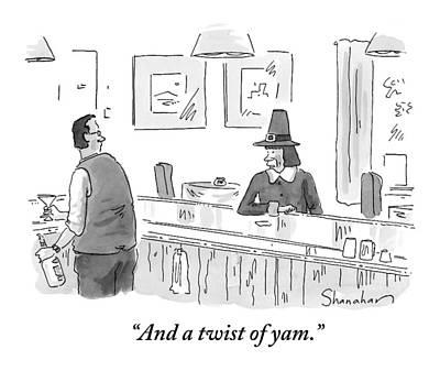 Martini Drawing - A Pilgrim Orders A Martini At A Bar by Danny Shanahan