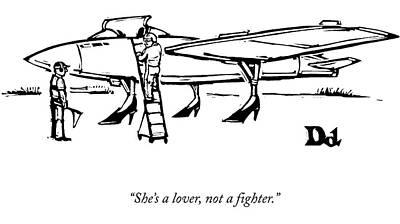 Wheel Drawing - A Pilot Speaks To A Technician On The Tarmac: by Drew Dernavich