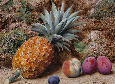 A Pineapple A Peach And Plums On A Mossy Bank Art Print by John Sherrin
