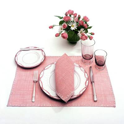 Table Knife Photograph - A Pink Table Setting by Haanel Cassidy