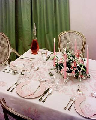 A Pink Table Setting Art Print