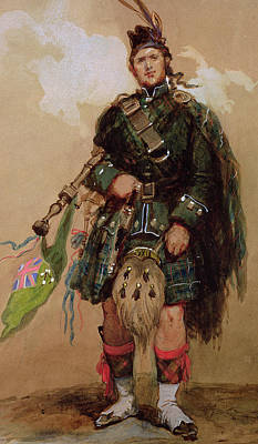 Scotch Painting - A Piper Of The 79th Highlanders At Chobham Camp by Eugene-Louis Lami