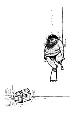 Edward-steed Drawing - A Pirate Scuba Diver Gets Lowered Down To Recover by Edward Steed