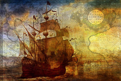 Painting - A Pirates Life Vintage by Georgiana Romanovna