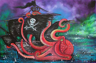 Pirate Ship Painting - A Pirates Tale - Attack Of The Mutant Octopus by Laura Barbosa