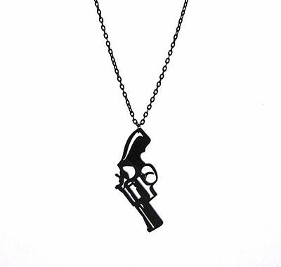 Perspex Jewelry Jewelry - a Pistol Pendant With Long Chain by Rony Bank