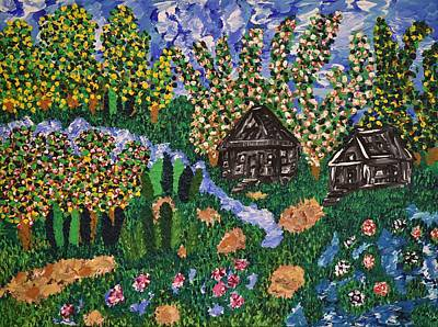 Folk Painting - A Place Of Tranquil Refuge by Sally Barnard