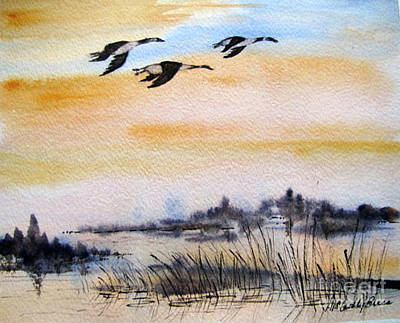 Canadian Geese Painting - A Place To Rest by April McCarthy-Braca