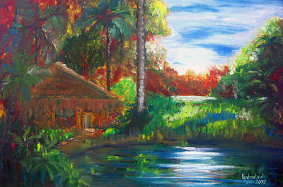 Nipa House Painting - A Place Undisturbed by Lyn Deutsch
