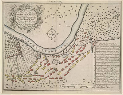 Seven Years War Photograph - A Plan Of The Battle Of Plassey by British Library