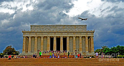 Photograph - A Plane Flys Over The Lincoln Memorial On A Warm Rainy Day  by Jim Fitzpatrick