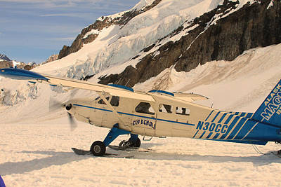 Photograph - A Plane On A Glacier At Mount. Denali by Ronald Olivier