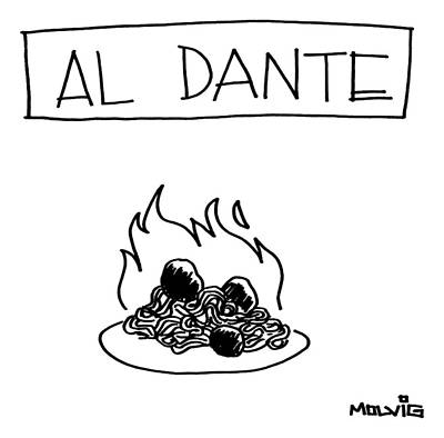 A Plate Of Spaghetti And Meatballs Is Burning Art Print