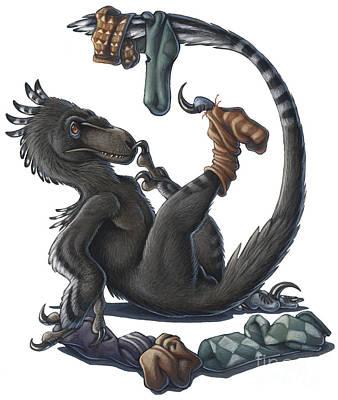 A Playful Deinonychus Dinosaur Playing Print by H. Kyoht Luterman