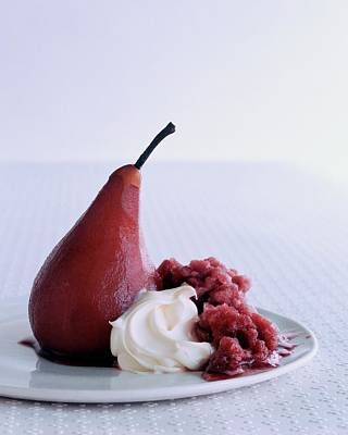 A Poached Pear With Cream Art Print
