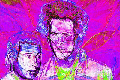 A Poet And A One Man Band Simon And Garfunkel 20140908 Print by Wingsdomain Art and Photography