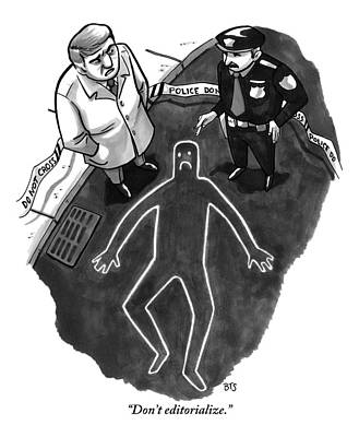 Faces Drawing - A Police Investigator Lectures A  Officer by Benjamin Schwartz