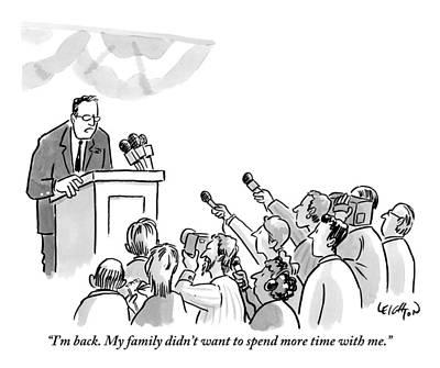 A Politician Addresses A Press Conference Art Print