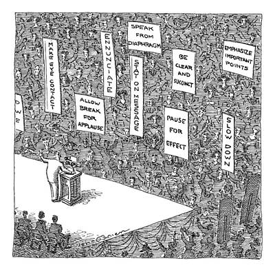 Speeches Drawing - A Politician Stands In Front Of An Audience by John O'Brien