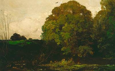 Copse Painting - A Pond In The Morvan by Charles Francois Daubigny