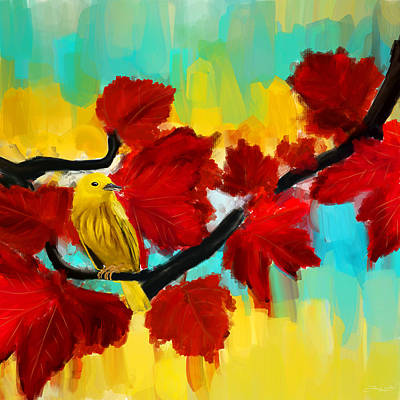 Reds Of Autumn Painting - A Ponder by Lourry Legarde