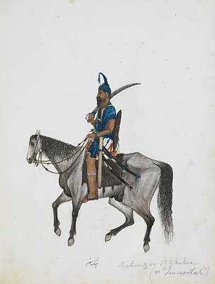 Pencil Work Photograph - A Poor Akali Mounted On Horseback by British Library