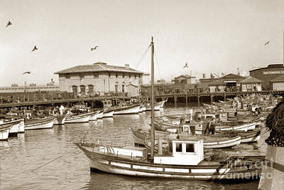 Photograph - A Portion Of The Crab Boat Fleet Tied Up At Fisherman's Wharf S. F. Calif.  Circa 1925 by California Views Archives Mr Pat Hathaway Archives