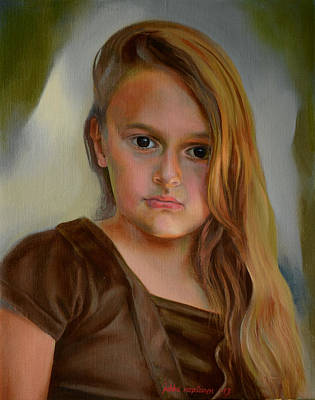 A Portrait Of A Girl Art Print by Jukka Nopsanen