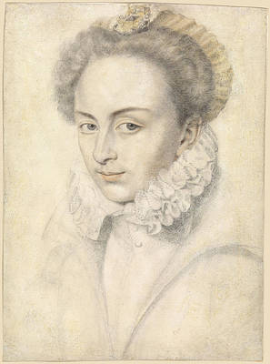 Drawing - A Portrait Of A Young Woman In A Ruffled Collar by Daniel Dumonstier