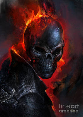 Ghost Riders Painting - Ghost Rider - Evil Flaming Skull by Ashraf Ghori