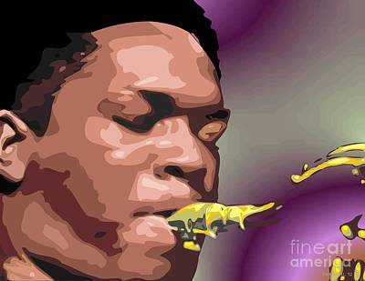 African-american Digital Art - A Portrait Of John Coltrane by Walter Oliver Neal