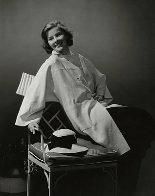 A Portrait Of Katharine Hepburn Wearing A Clare Art Print