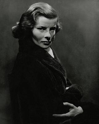 Film Photograph - A Portrait Of Katharine Hepburn With Her Arms by Lusha Nelson