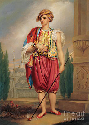 Traditional Culture Painting - A Portrait Of Thomas Hope In Turkish Costume by Celestial Images