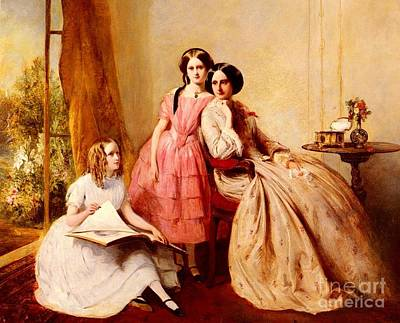 Two Girls Painting - A Portrait Of Two Girls With Their Governess by Abraham Solomon