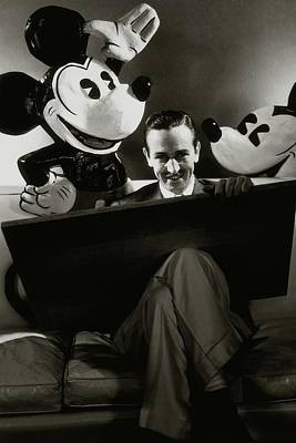 Studio Shot Photograph - A Portrait Of Walt Disney With Mickey And Minnie by Edward Steichen