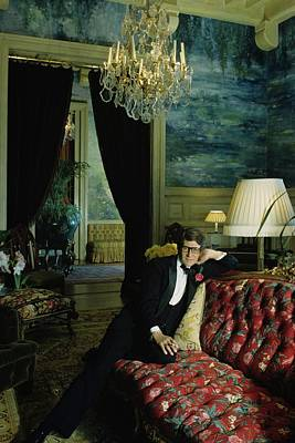 A Portrait Of Yves Saint Laurent At His Home Art Print