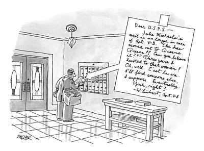 A Postman Reads A Letter Left Art Print by Jack Ziegler