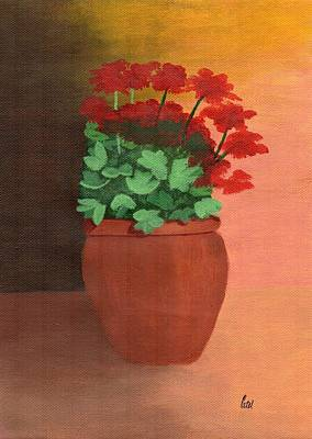 A Pot Of Geraniums Art Print by Bav Patel