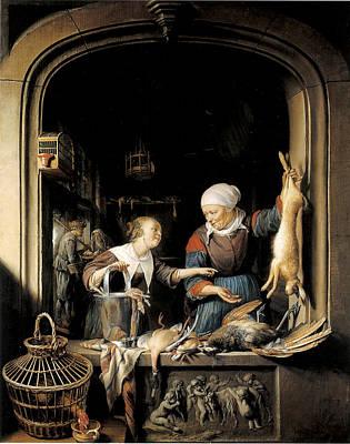 Painting - A Poulterer's Shop by Gerrit Dou