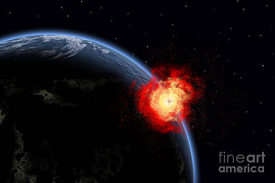 Collision Of Worlds Digital Art - A Powerful Explosion On Earths Surface by Mark Stevenson