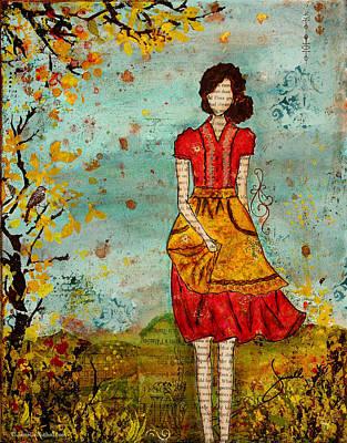 Folkart Mixed Media - A Prairie Autumn Day by Janelle Nichol