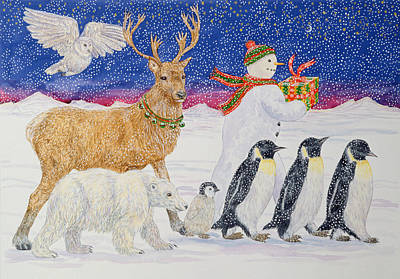 Penguin Painting - A Present For Santa  by Catherine Bradbury