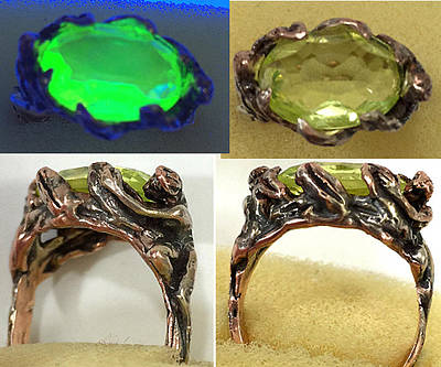 Shibuichi Jewelry - A Price Above Rubies In Shibuichi And Uranium Glass by Michelle  Robison