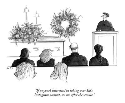 Instagram Drawing - A Priest Makes A Eulogy by Julia Suits