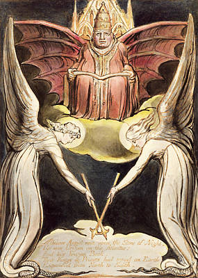 Bat Drawing - A Priest On Christ's Throne by William Blake