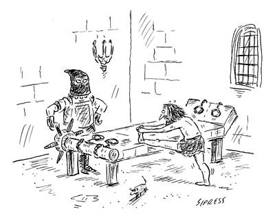 Rack Drawing - A Prisoner Is Seen Stretching On A Torture Rack by David Sipress